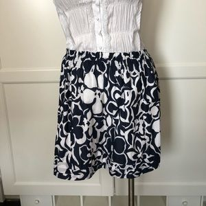 Land's End Navy & White skirt Size M